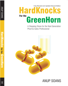 Anup Soans | HardKnocks for the GreenHorn | Medical Reps | Front-line Managers | Training