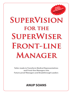 Anup Soans | SuperVision for the SuperWiser Front-line Manager | Pharma Training | managers | emotional intelligence