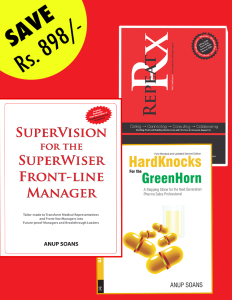 Field Force Development | HardKnocks for the GreenHorn | SuperVision for the SuperWiser Front-line Manager | Anup Soans | Pharma | Training | Repeat Rx